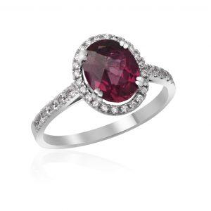 Briliantový prsteň a rodolit