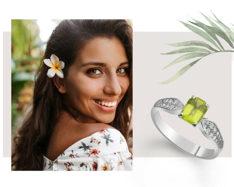 prsteň s olivínom danfil