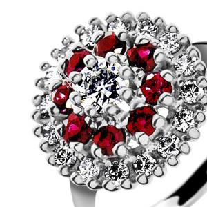 Prsteň s diamantmi a rubínmi