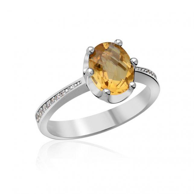 zlatý zásnubní prsten s citrínem